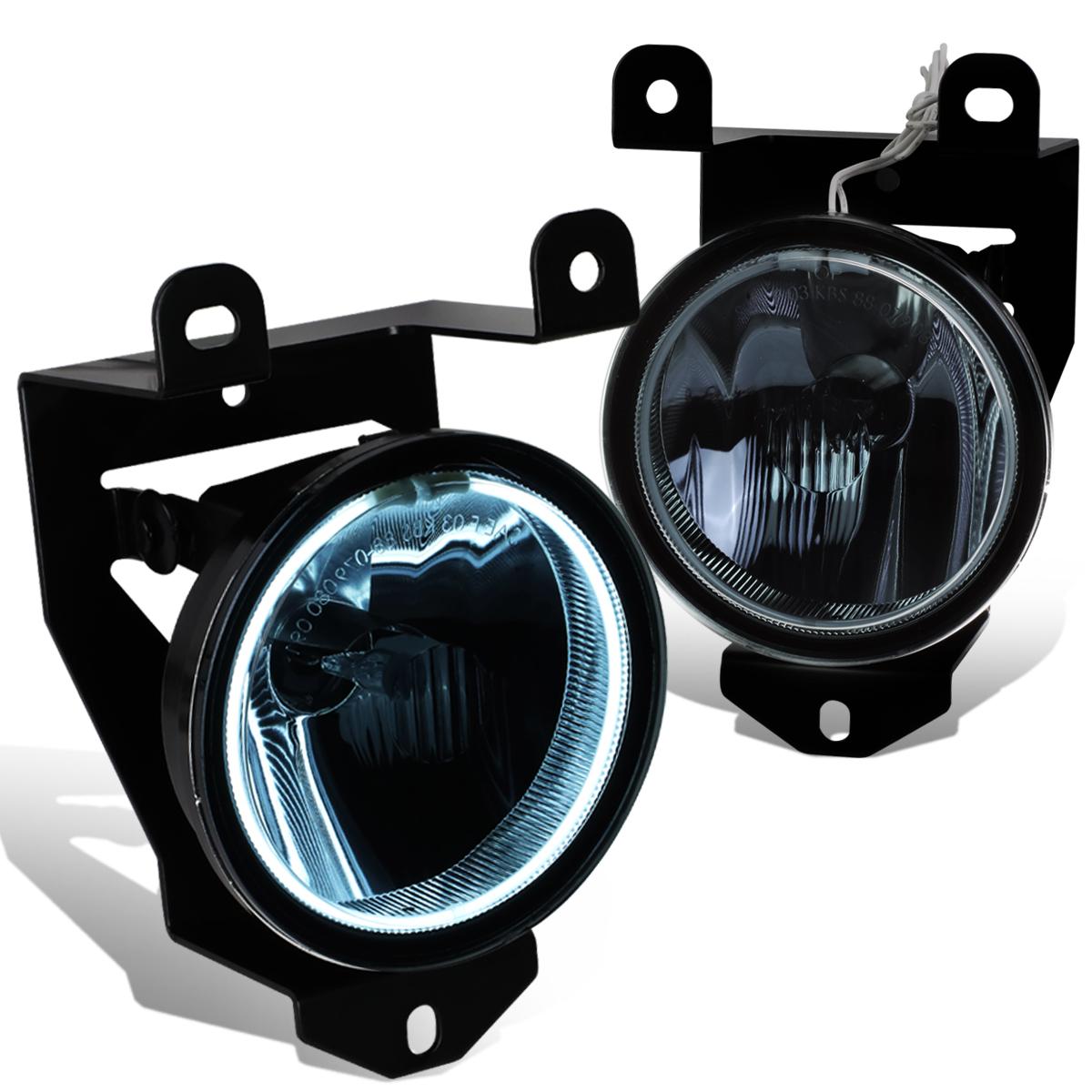For 01-06 GMC Yukon XL/Sierra 1500 Denali Front Fog Light w/Halo Ring CCFL Power Inverter Smoked Lens 02 03 04 05 Left+Right