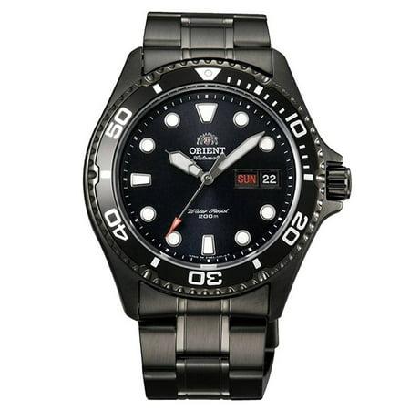Orient Aa02003b Mens Ray Raven Ii Black Dial Black Ip Steel Bracelet Automatic Dive Watch
