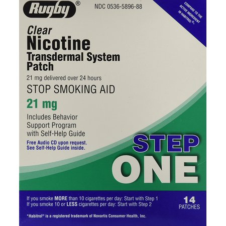 21 Mg Nicotine Patches - Rugby Clear Nicotine Transdermal System Patch, 21 mg, 14 Count