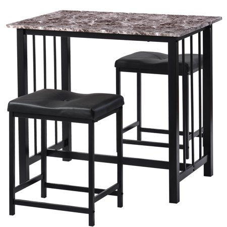 Get The Industrial Style 3 Piece Table Set Kitchen Counter Height Dining Table Set Bar Table With Industrial Style 2 Bar Stools For Kitchen Living Room Marble And Black From Walmart Now