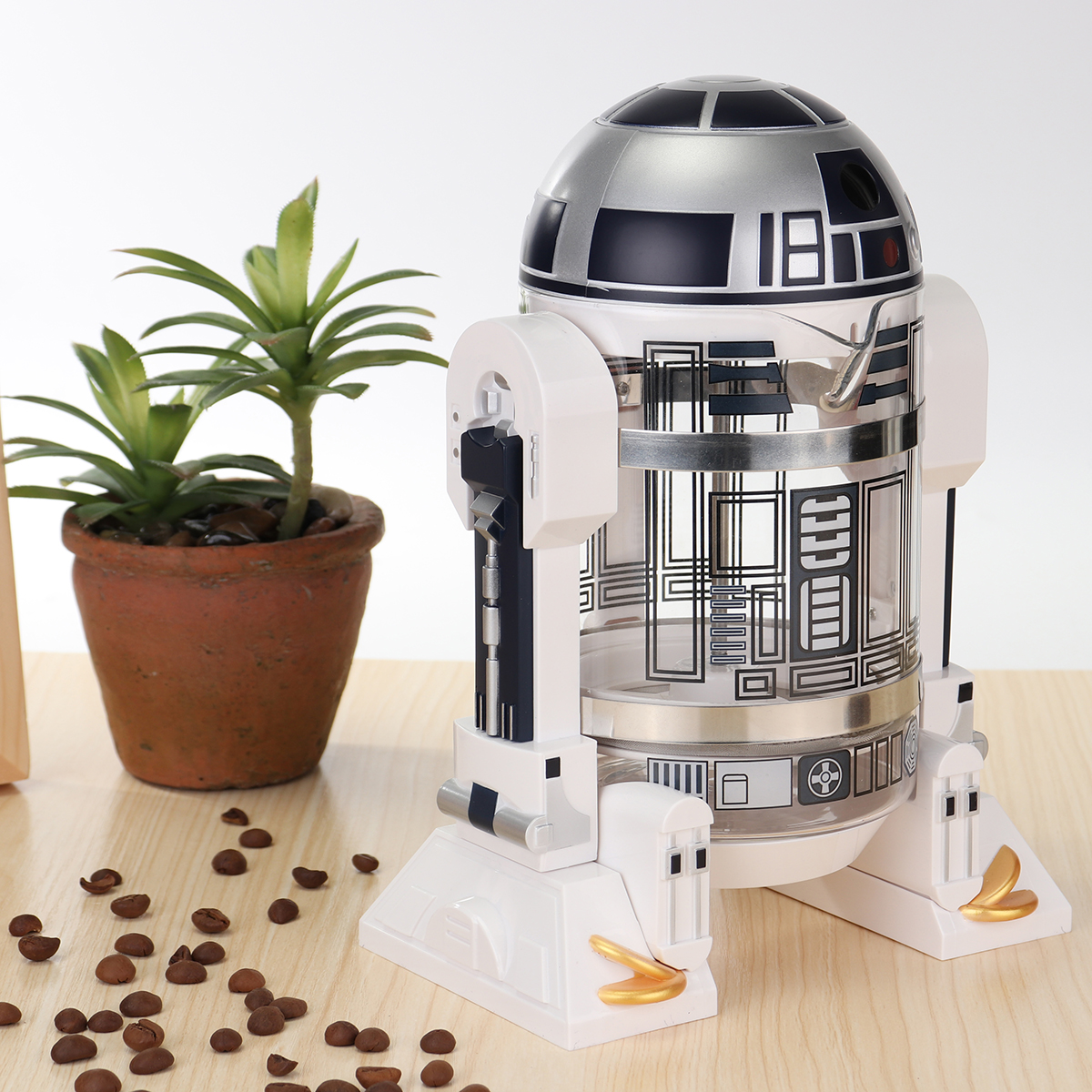 32oz/960ML R2-D2 Household Hand Made French Coffee Press Pot Robot Shape 4 Cups for Home,Office Restaurant,Hotel,Cafe,Coffee Time