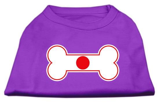 Bone Shaped Japan Flag Screen Print Shirts Purple M (12) by Mirage