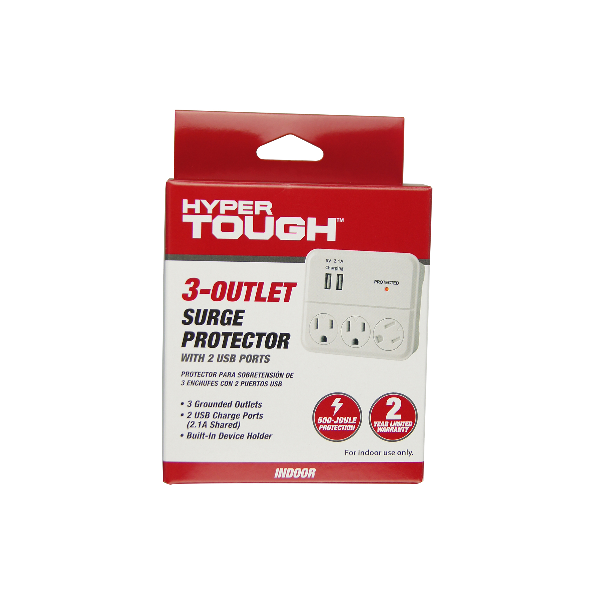 Hyper Tough 2 Outlet Plug Surge Tap With 2 USB Ports White Wall Charger Adapter