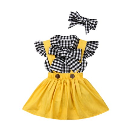 Boutique Kids Baby Girl Checks Tops Suspender Tutu Skirt Dress Outfit Clothes ()