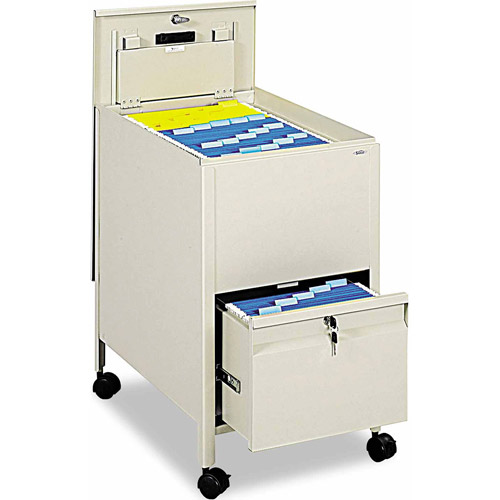 Safco Locking Mobile Tub File with Drawer, Letter Size