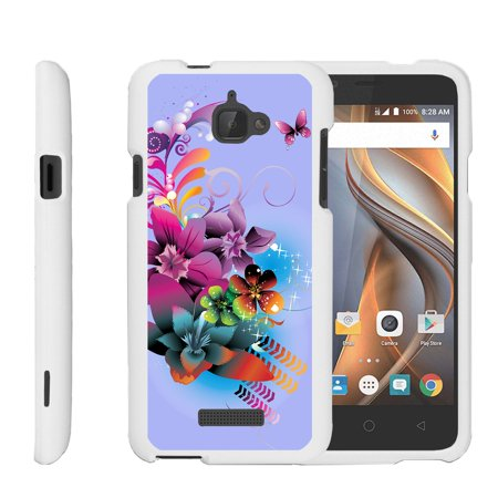 CoolPad Catalyst, [SNAP SHELL][White] 2 Piece Snap On Rubberized Hard White Plastic Cell Phone Case with Exclusive Art -  Purple Flower - Butterfly Rubberized Snap