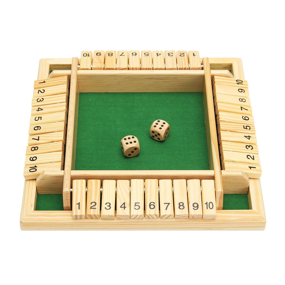 Wooden Shut the Box Four Sided 10 Number Pub Bar Board Dice Game Family Party US
