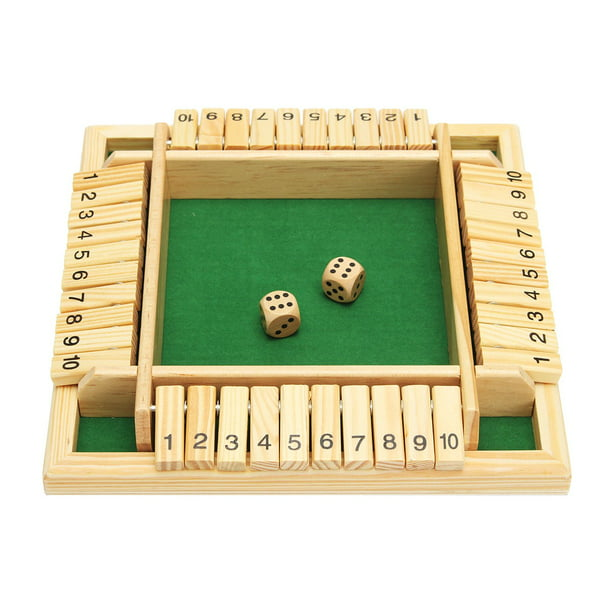 10 Numbers Traditional Wooden Pub Bar Board Family Game Dice Kids and Adults For Shut The Box 8.66 x 8.66 x 1.30 Inch