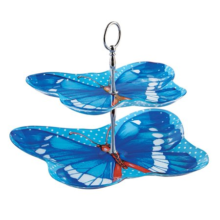 Blue Bamboo Handled Serving Plate - Blue Butterfly 2-Tier Serving Tray with Carrying Handle, Dishwasher Safe, Blue