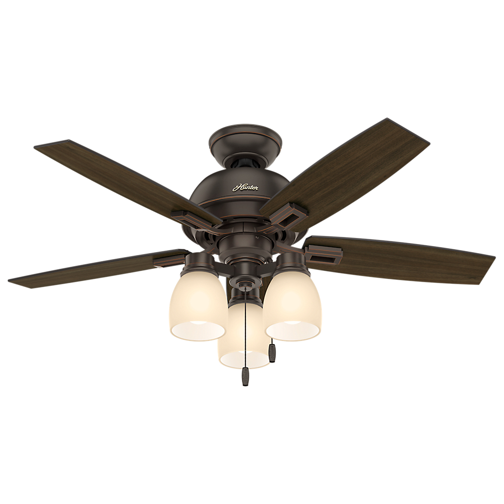 Hunter 44 Donegan Brushed Nickel Ceiling Fan With Light Kit And Pull Chain Walmart Com Walmart Com