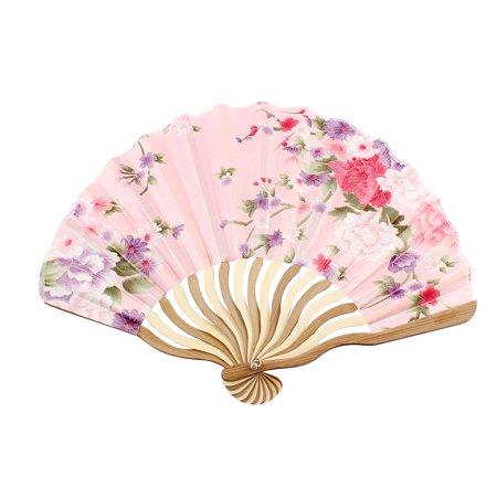 Japanese Style Flower Pattern Nylon Bamboo Frame Foldable Hand Fan Fans Art Gift