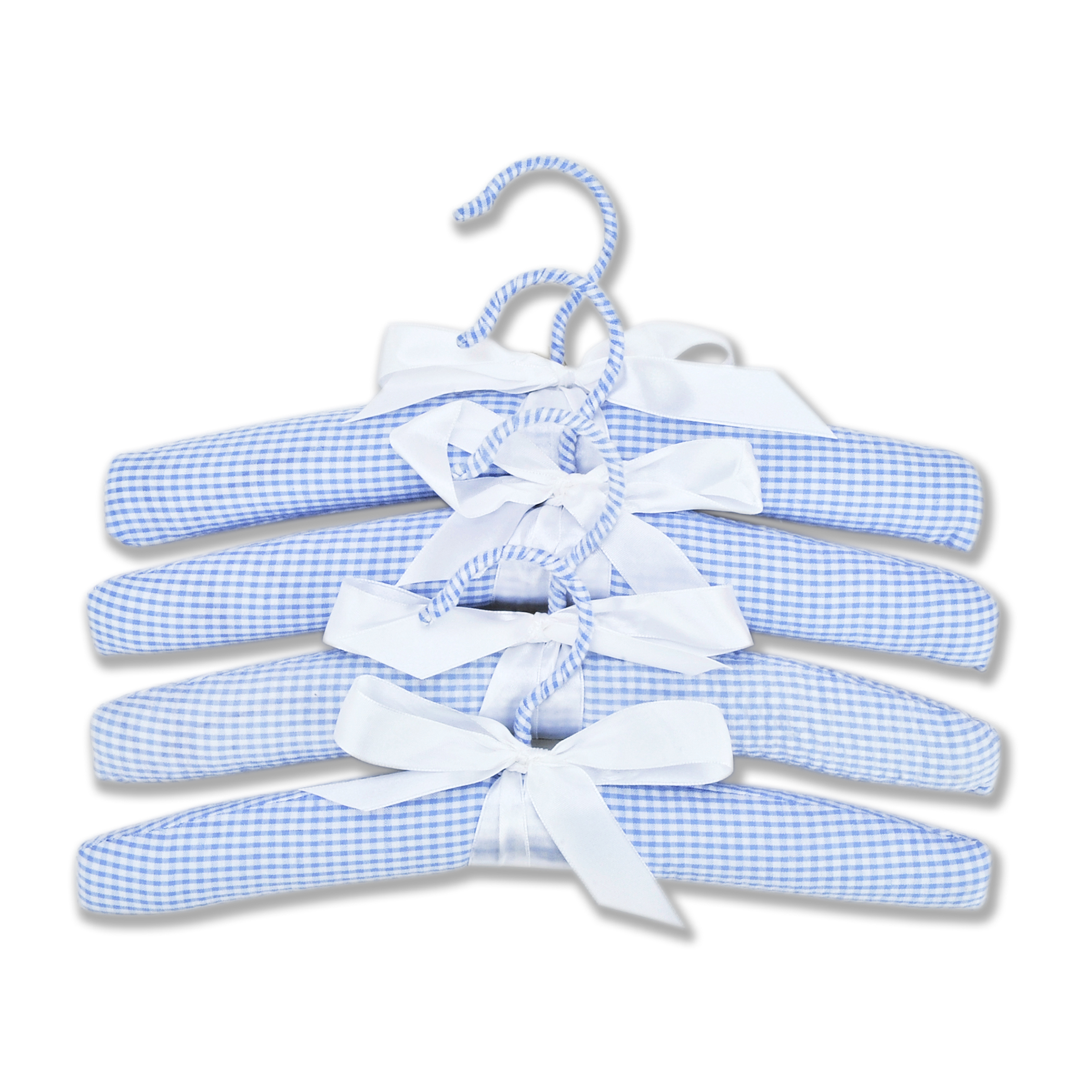 Hangers - 4 Pack Blue Gingham Seersucker