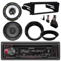 """Kenwood KDC168U Bluetooth CD Stereo Audio Receiver - Bundle Combo With 2x Kenwood 6.5"""" Inch Black Coaxial Speakers W/ Adapter Brackets + Radio Dash Kit For 1998-2013 Harley Motorcycle Bikes"""