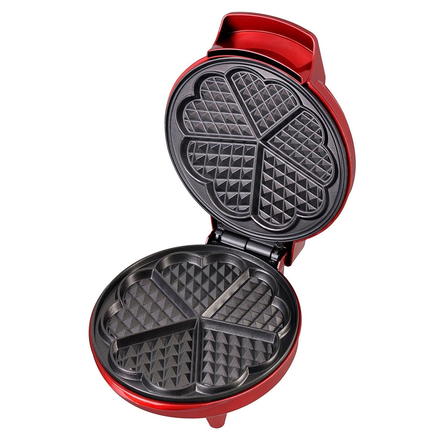 Kitchen Things Red Metallic Heart Shape Waffle Maker, 7 heart-shaped cooking plates By Kalorik