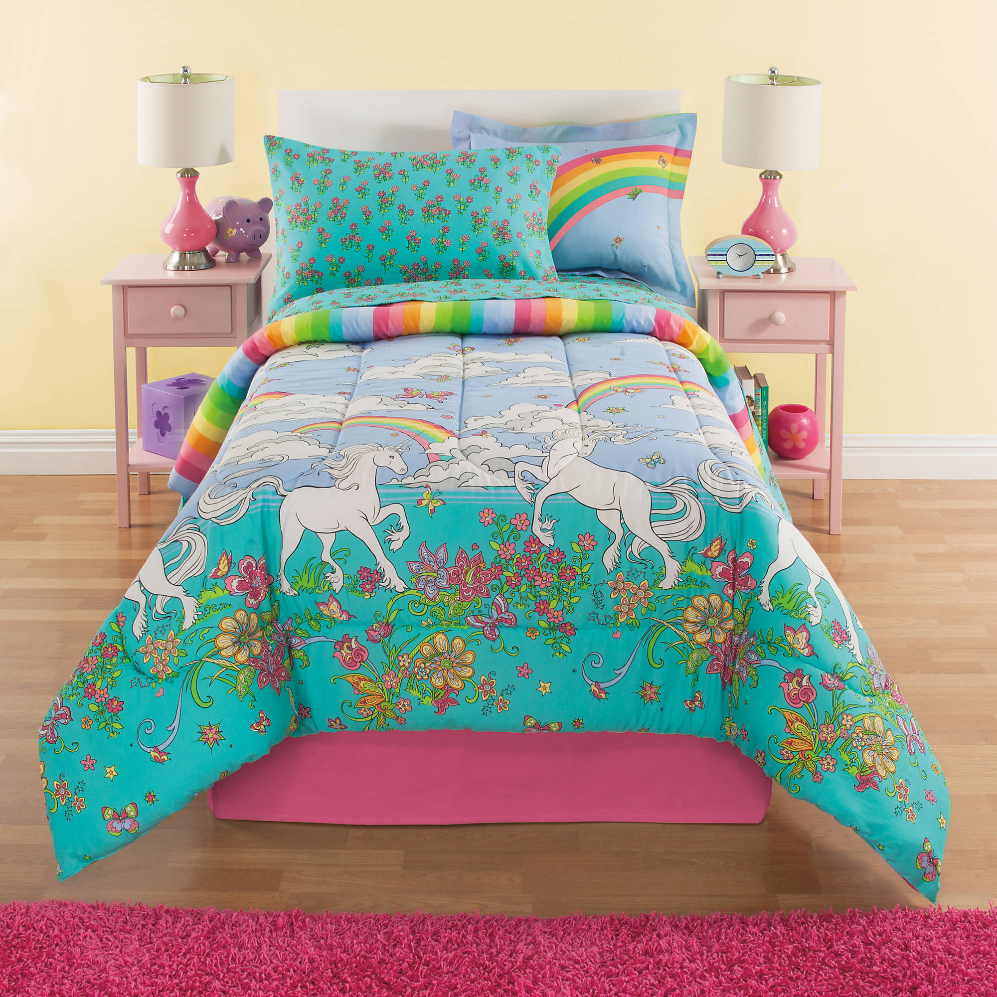 sets bedding a collection coordinated bag mainstays purple kids the in ip butterfly com bed shop walmart