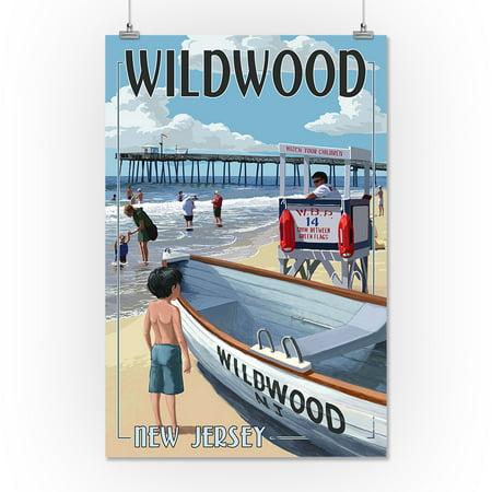 Wildwood, New Jersey - Lifeguard Stand - Lantern Press Poster (16x24 Giclee Gallery Print, Wall Decor Travel Poster)