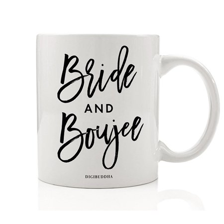 BRIDE AND BOUJEE Bridal Party Favors Mug Gift Idea Girls Weekend Bachelorette Parties Wedding Bride Tribe Bridesmaid Maid of Honor Best Friend Presents 11oz Ceramic Coffee Tea Cup Digibuddha