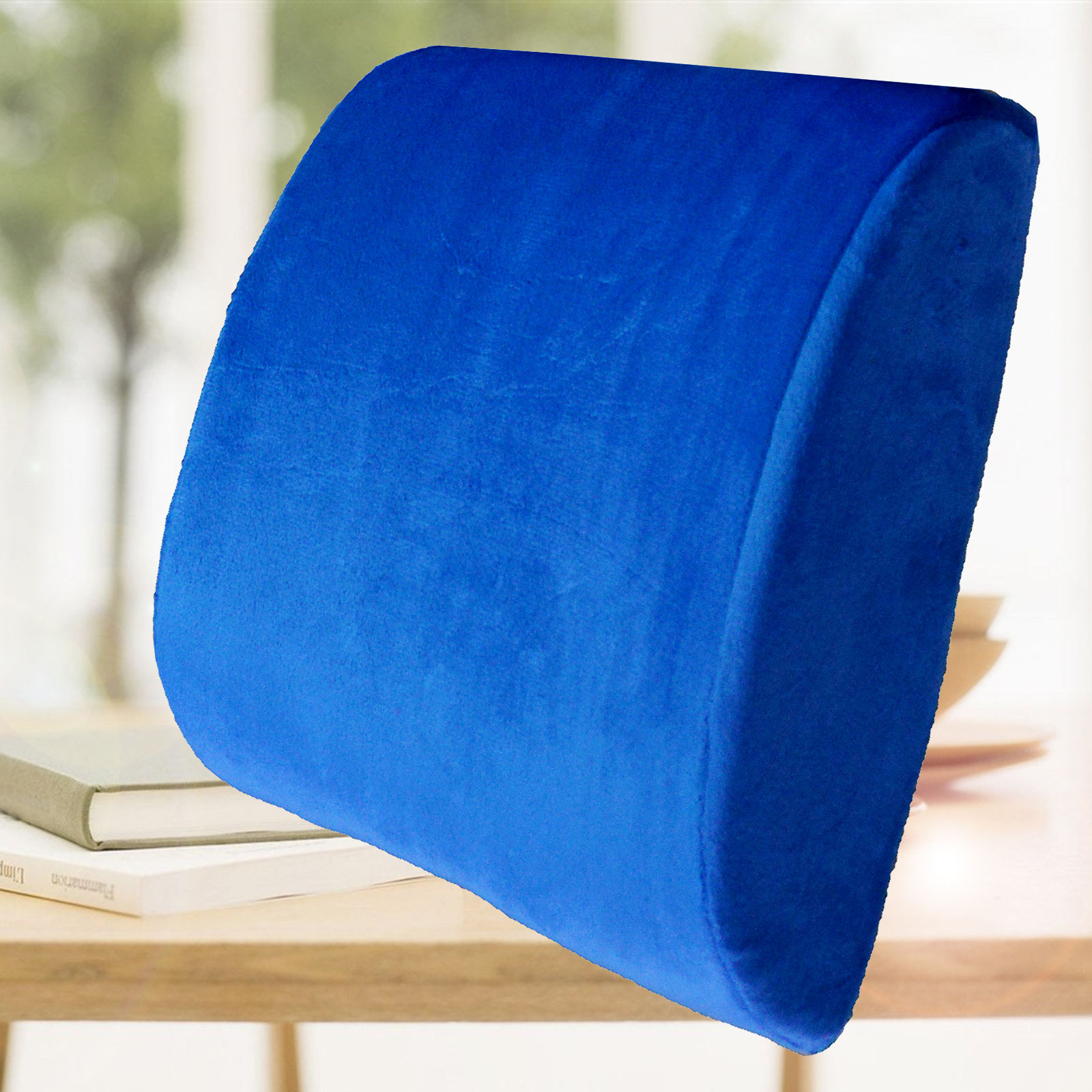 Memory Foam Lumbar Back Support Pillow Sciatica & Pain Relief Seat Chair Cushion Blue and Other Colors
