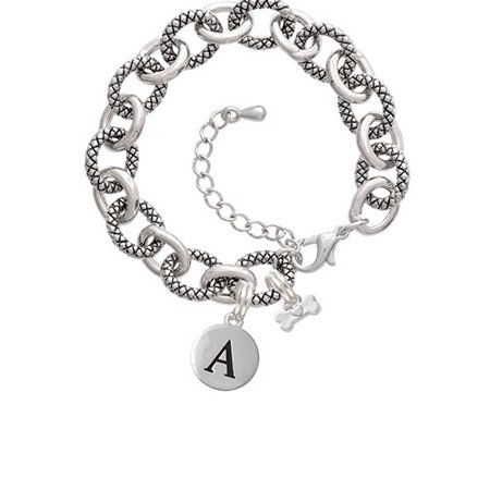 Mini Dog Bone with Heart -A- Pebble Initial Diana Bracelet for $<!---->