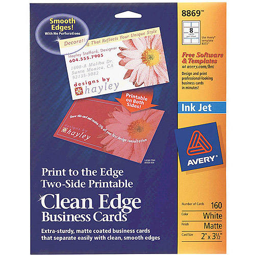 Avery Two-Side Printable Clean-Edge Business Card for Inkjet 8869, 2-Sided, White, 160-Count