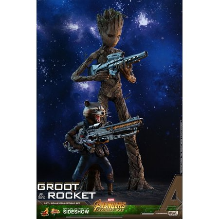 Avengers Infinity War 11 Inch & 6 Inch Action Figure MMS 1/6 Scale Series - Groot and Rocket Hot Toys 903423 - image 1 of 1