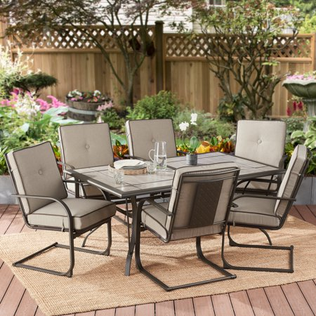 Better Homes & Gardens Everson 7-Piece Motion Patio Dining Set with Gray Cushions