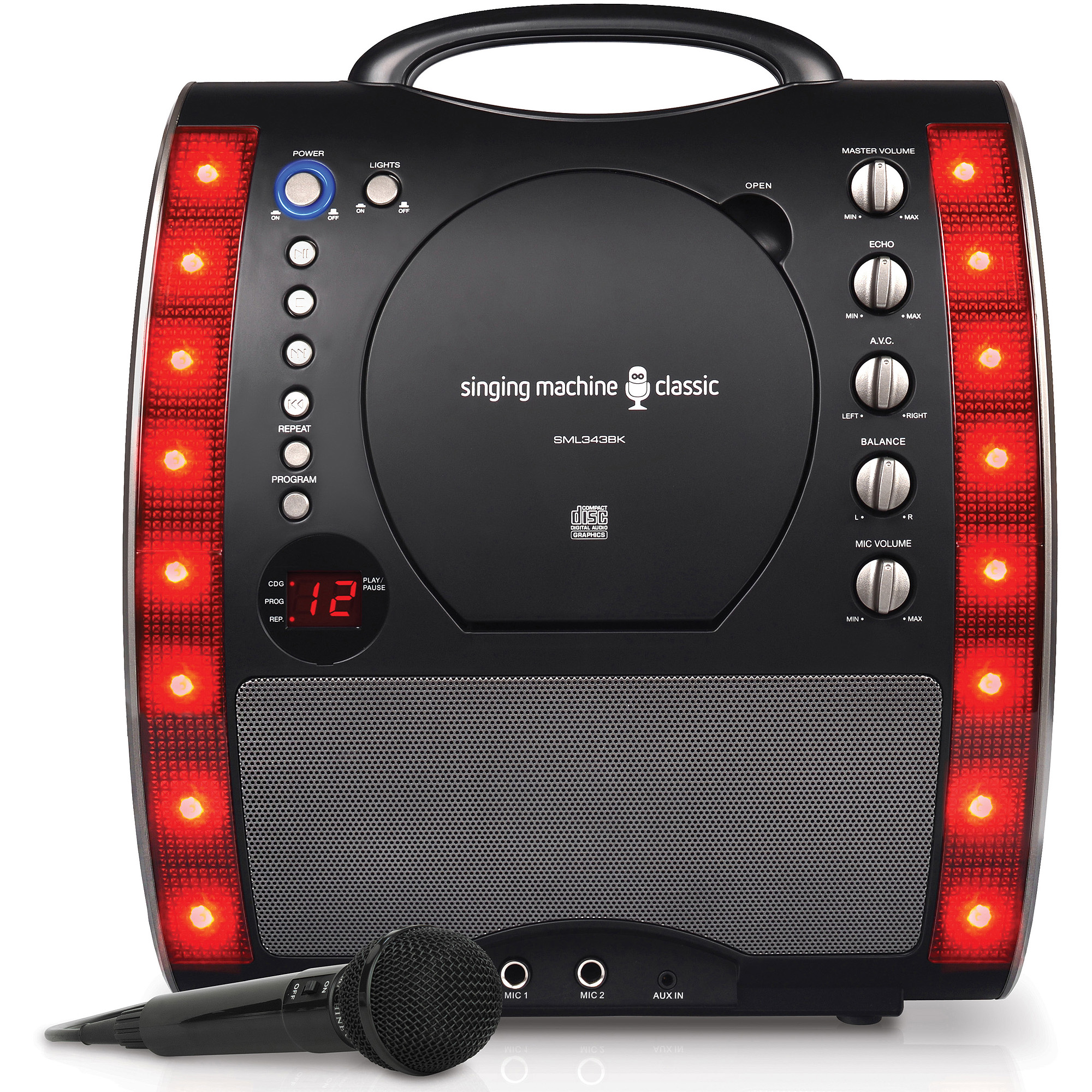 Singing Machine SML343BK Portable Plug and Play CD+G Karaoke System with Microphone and Disco Lights