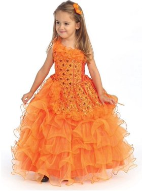 2e05288b9d24 Product Image Angels Garment Orange Sequin Organza Ruffle Pageant Dress  Girls 3T