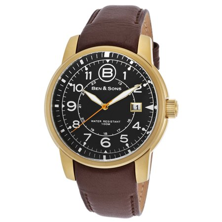 Ben & Sons 10006-AN-01-OA-BRS West Side Brown Genuine Leathe (Ben And Sons Mens Watch)