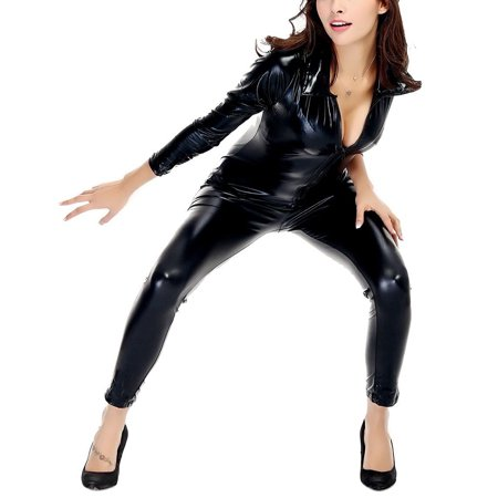 Erotic Adult Costumes (Women Latex Catsuit Open Bust Crotchless Erotic Faux Leather Jumpsuit Porn Bodysuit Lady Clubwear Sexy Fetish Costume Color:Black)