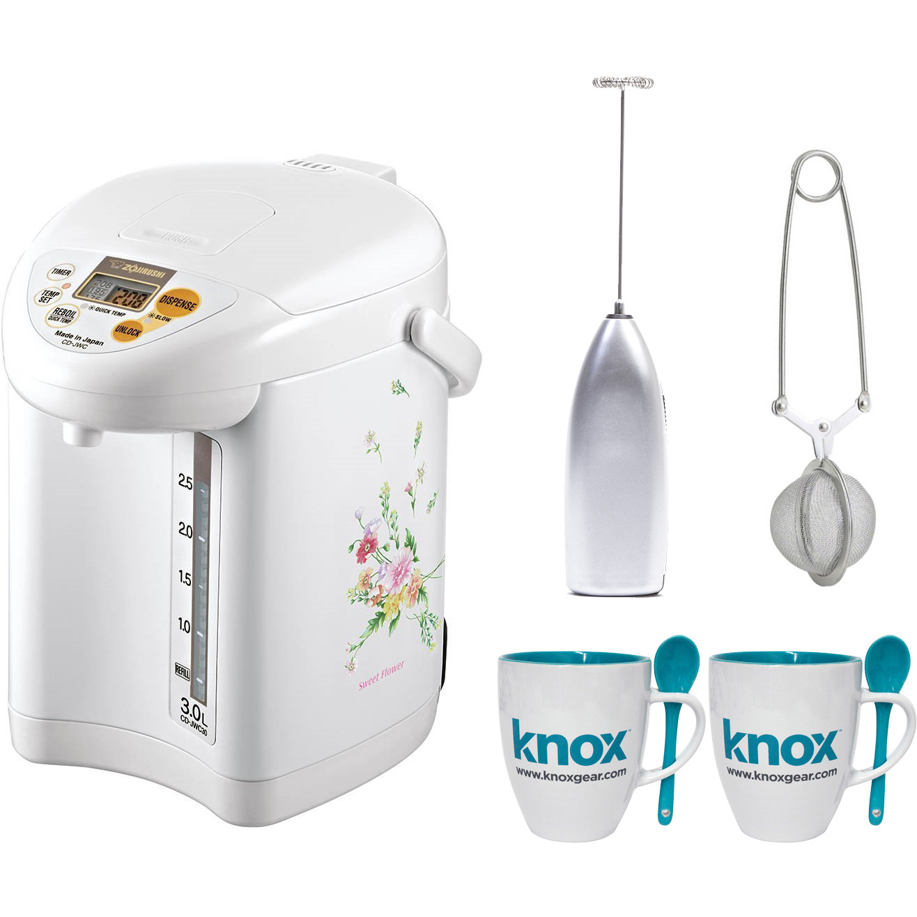 Zojirushi CD-JWC30 Micom Water Boiler and Warmer, Natural Bouquet + Free Knox Mugs, Frother and Tea Infuser