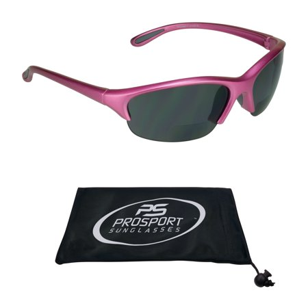 Sport BIFOCAL Sunglasses for Women. Semi Rimless Pink Frame with High Quality Z87 Safety Lenses.