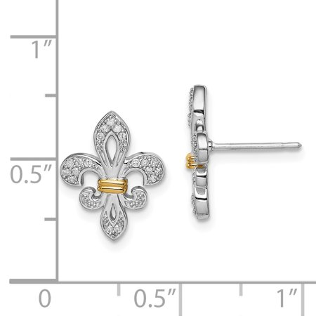 925 Sterling Silver 14k Yellow Gold Diamond Fleur De Lis Post Stud Earrings Fine Jewelry For Women Valentines Day Gifts For Her - image 4 de 6