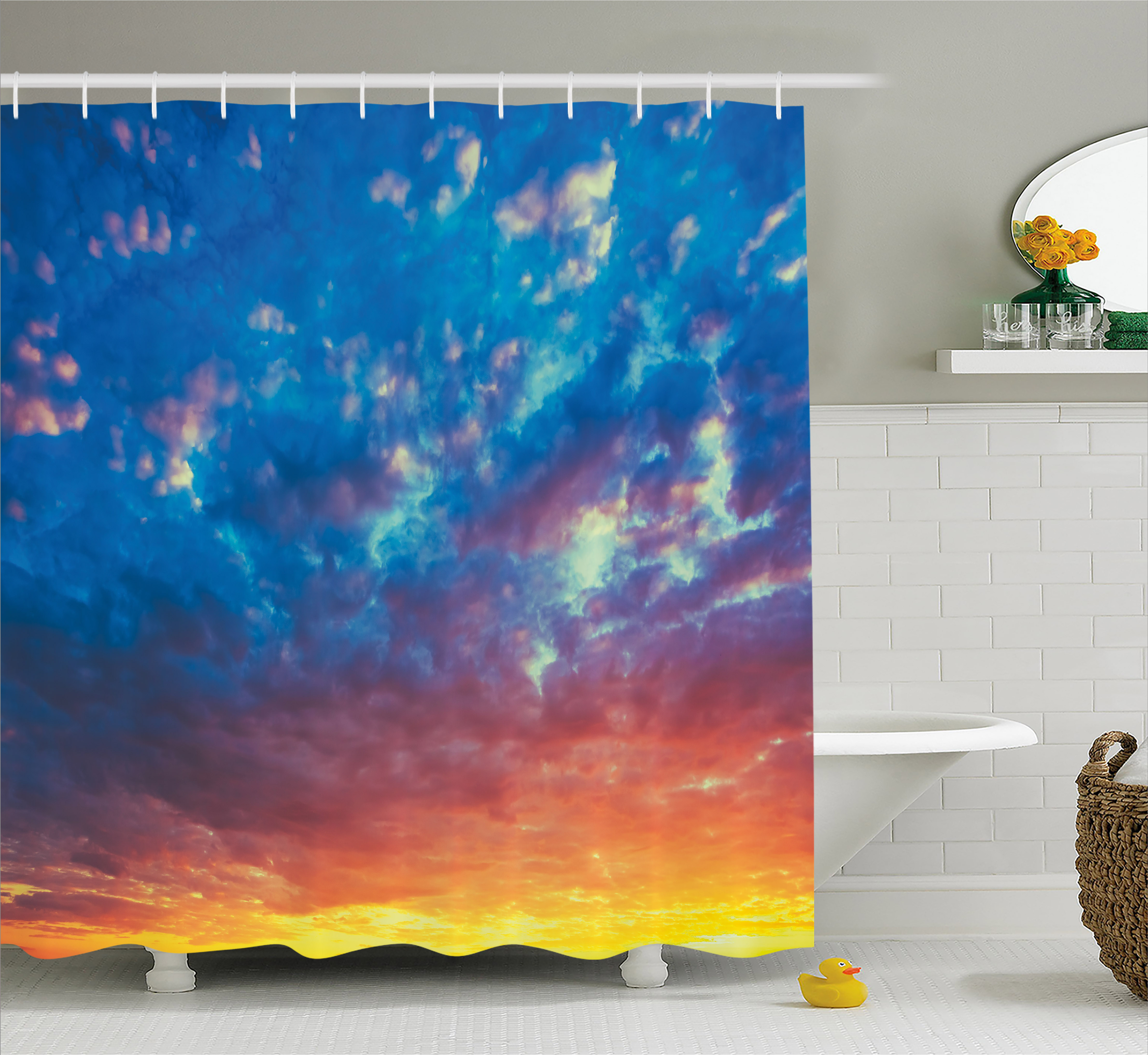 Yellow and Blue Shower Curtain, Dramatic Sky Sunset Scenic Cloudscape Idyllic Twilight Eco Picture, Fabric Bathroom Set with Hooks, 69W X 70L Inches, Coral Earth Yellow, by Ambesonne
