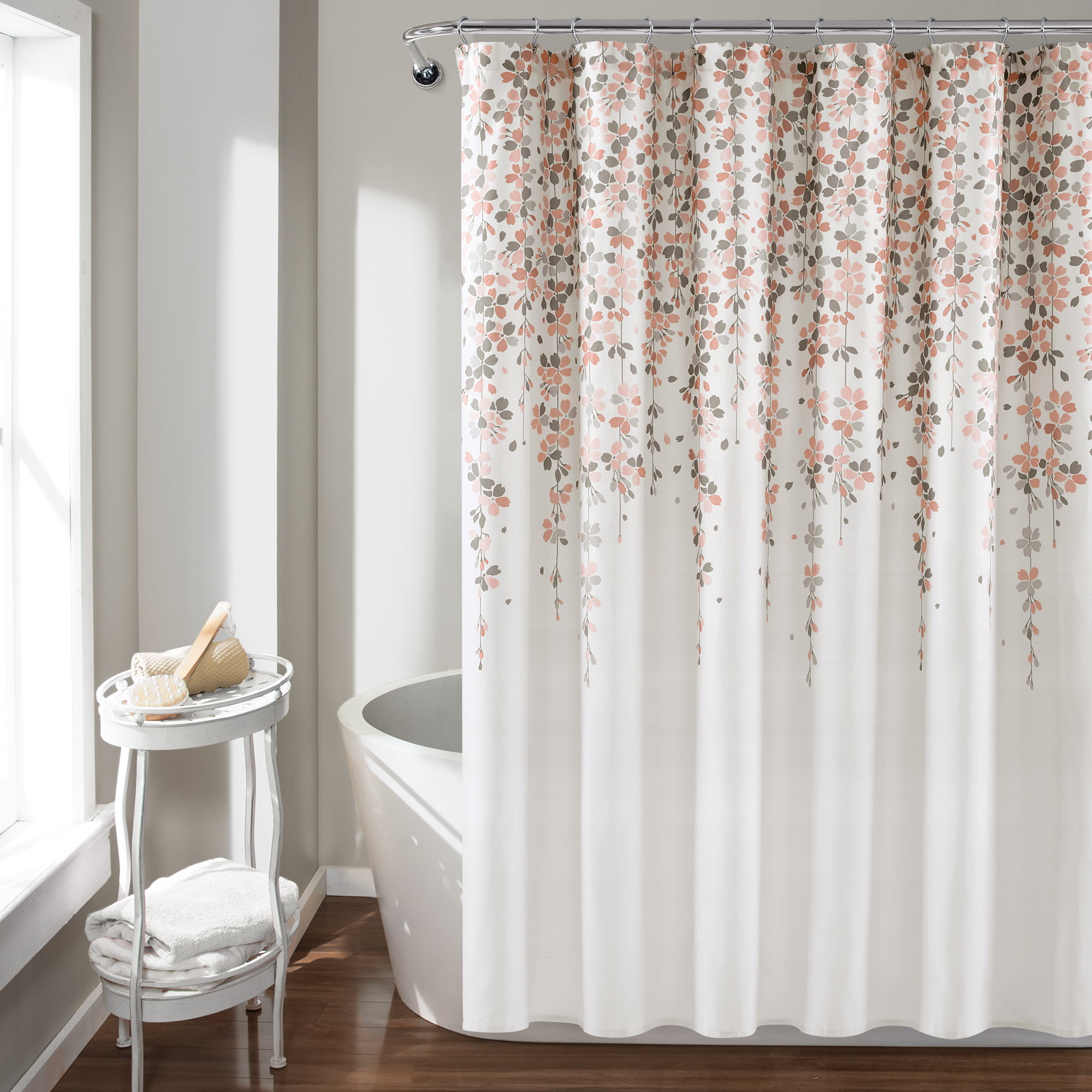 Lush Decor Weeping Flower Shower Curtain 72x72 Blush Gray Single Walmart Com Walmart Com