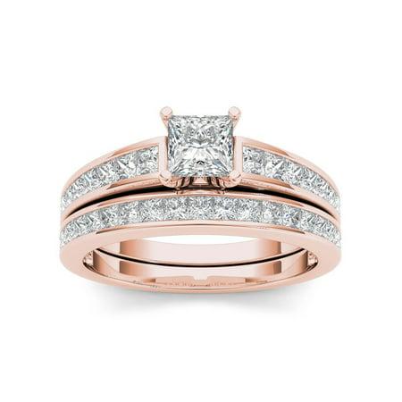 Marquise Good Cut Diamond (IGI Certified 14K Rose Gold 1ct TDW Princess-Cut Diamond Engagement Ring Set - Pink)