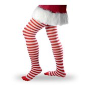 Red And White Striped Adult Tights