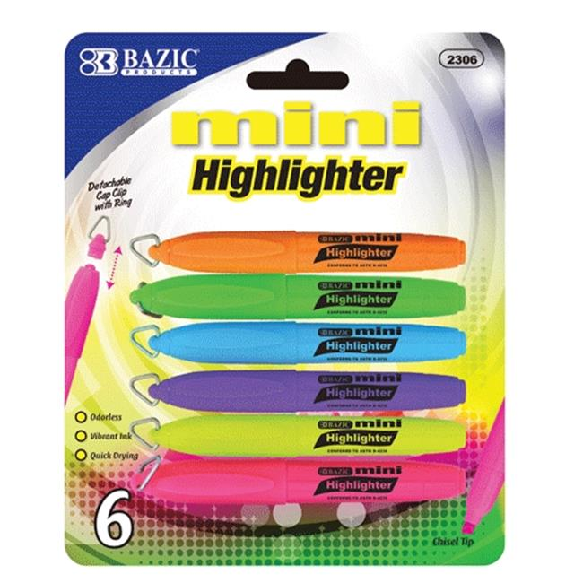 Bazic Products 2306-144 BAZIC Mini Fluorescent Highlighter with Cap Clip - 6-Pack Case of 144