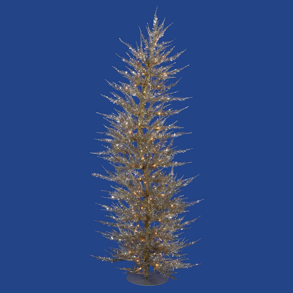 "Vickerman 421192 - 3' x 17"" Champagne Laser Tree with 50 Warm White LED Lights Christmas Tree (B161431LED)"