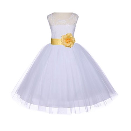 1b94a8c42f1 Ekidsbridal White Floral Lace Bodice Tulle Flower Girl Dresses Wedding  Pageant Formal Special Occasion Dresses First Communion Holy Baptism Junior  Toddler ...