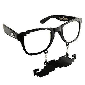 Party Costumes - Sun-Staches - 8 Bit Black Clear Lens Toys Sunglasses SG1334 (Lens Party Shop)