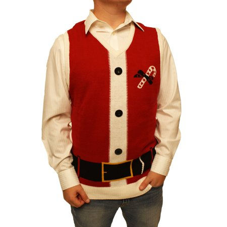 Ugly Christmas Sweater Men's Santa Claus Suit Vest V-Neck Xmas Sweatshirt - Ugly Christmas Sweaters For Kids