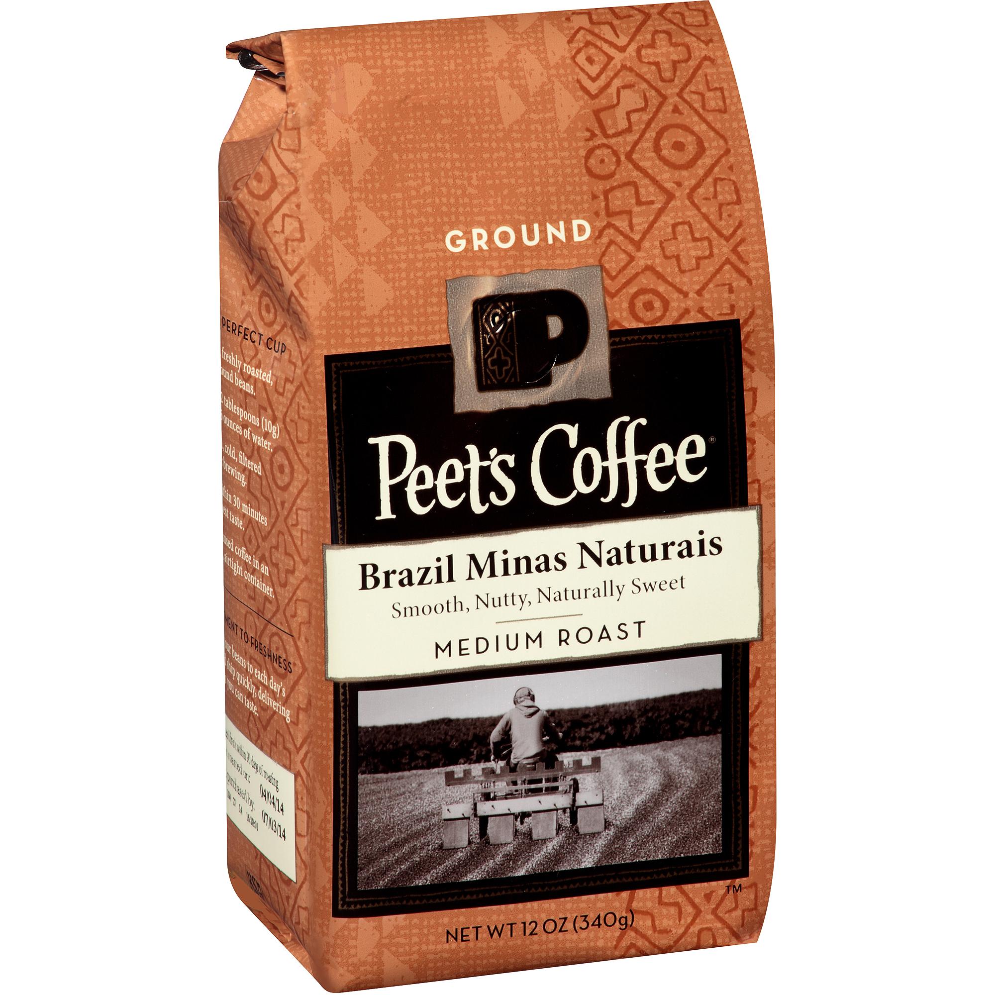 Peet's Coffee Brazil Minas Naturais Medium Roast Ground Coffee, 12 oz