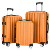 3-Set UBesGoo Luggage PC+ABS Durable Suitcase on Wheels TSA Lock