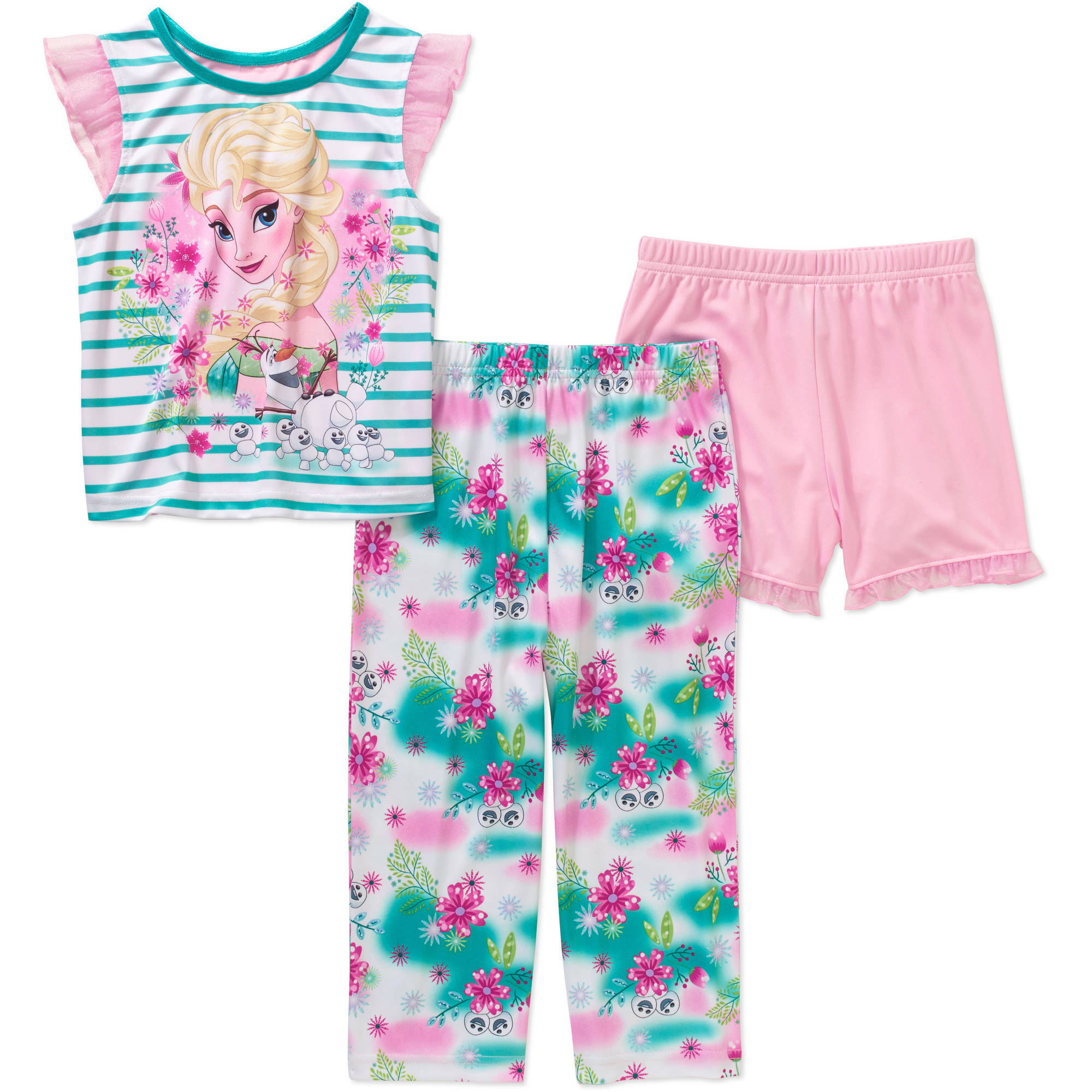 Disney Frozen Toddler Girl Sleeveless 3-Piece Sleepwear Set