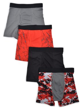 Athletic Works Boys Underwear, 4 Pack Mesh Print Boxer Brief (Husky Boys)