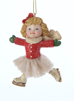 "3.75"" Vintage Girl Ice Skater in Pose with Red Bow in Hair Christmas Ornament"