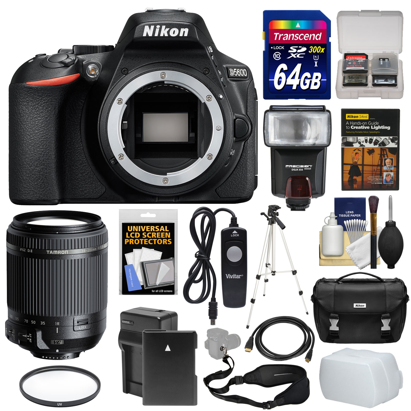 Nikon D5600 Wi-Fi Digital SLR Camera Body with 18-200mm VC Lens + 64GB Card + Case + Flash + Battery & Charger... by Nikon