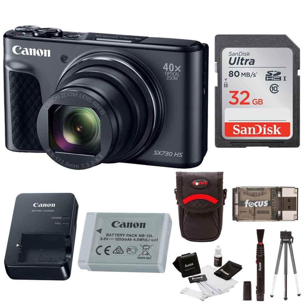Canon PowerShot SX730 Digital Camera (Black) w/ 32GB SD Card & Accessory Bundle