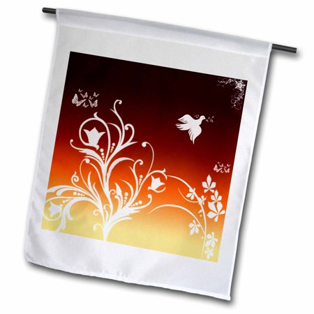 3dRose Floral pattern in white on a Deep Red to Orange gradient background with dove and butterflies. - Garden Flag, 12 by 18-inch Orange Floral Background